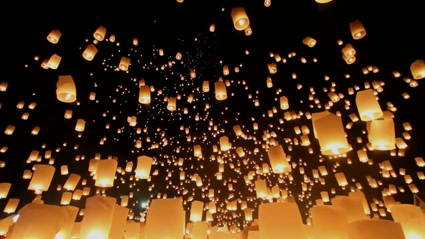 Floating lanterns in Yee Peng Festival, Loy Krathong celebration in Chiangmai, Thailand. Uprisen wide angle view. #7726558