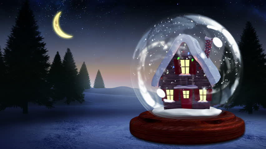 Digital Animation Cute Christmas House Snow Globe Stock Footage Video