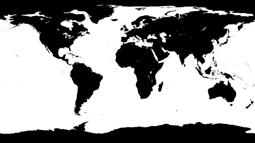 World Map Wraps And Unwraps From Flat Projection To Cylinder And - Black white world map