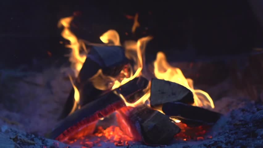 Fire Bonfire Burning At Night Stock Footage Video 100 Royalty