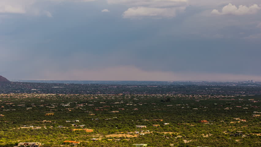 4K UHD time lapse dust storm haboob crosses city of Tucson valley monsoon storm weather