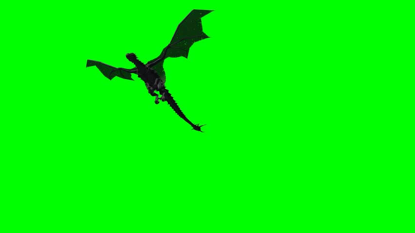 mountain dragon flying on green screen - 3 different versions