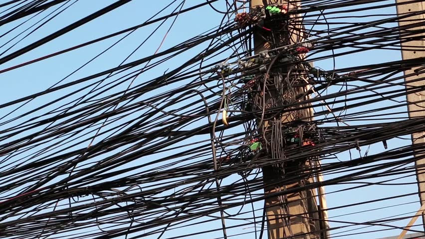 Large Number Of Electrical Wires On Electric Post Stock Footage ...