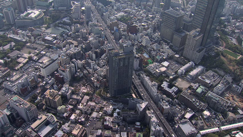 Aerial Metropolis view Roppongi Hills Mori Tower vehicle Expressway Tokyo Business district commuter traffic pollution Japan | Shutterstock HD Video #7795963