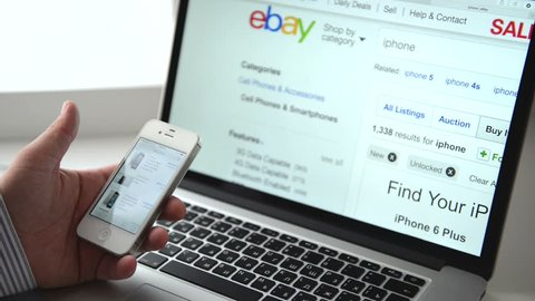 SIMFEROPOL, RUSSIA - NOVEMBER 01, 2014: Ebay shopping on iPhone display. Ebay is an American multinational corporation and e-commerce company