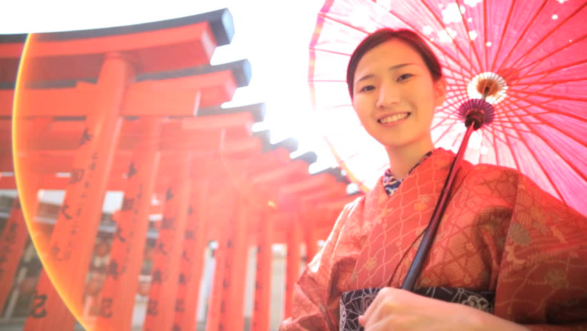 Portrait Asian Japanese female Japan traditional costume kimono parasol Buddhist temple travel tourism advertisement slow motion | Shutterstock HD Video #7838461