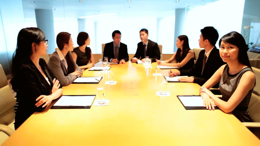Asian Chinese business team communication city boardroom meeting video uplink wireless technology smart managers conference | Shutterstock HD Video #7852915