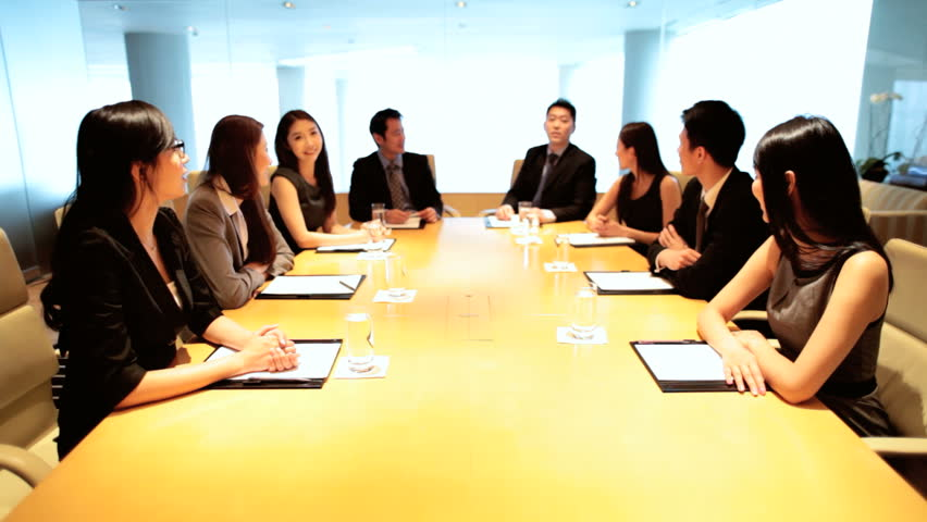Confident Asian Chinese male female business finance team city boardroom future planning proposals video conference uplink | Shutterstock HD Video #7852933