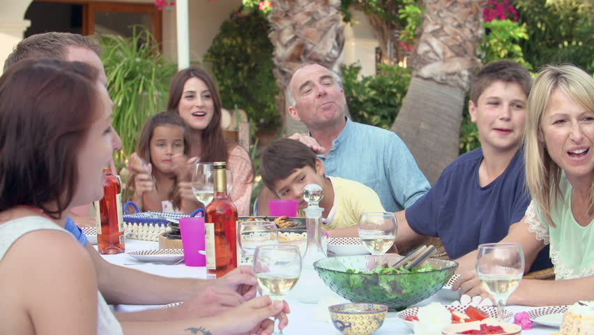 Slow motion sequence of family group celebrating grandmother's birthday. Shot on Sony FS700 at frame rate of 100fps | Shutterstock HD Video #7918093