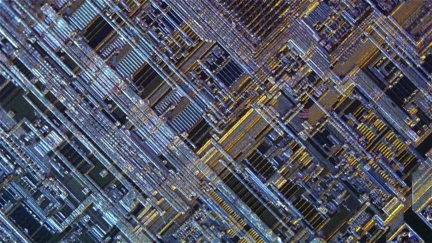 Inside the chip. Extreme close-up topology, building, architecture, structures, base, tracks in the silicon single crystals. Shooting through a microscope. Dolly shot   Shutterstock HD Video #7931203