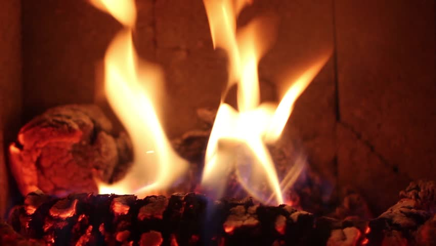 Flames Blazing In A Cozy Fireplace, Giving Warmth On A Cold Winter ...