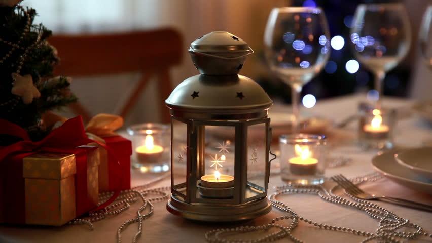 Christmas Lanterns.Christmas Theme Festive Table Setting Stock Footage Video 100 Royalty Free 7964713 Shutterstock