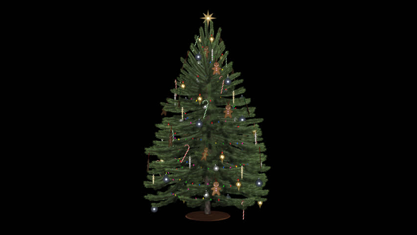 Christmas Tree - Green - Spinning Loop - Alpha - Decorated with bolls, cones, icicles, gingerbread guys, garland of lamps, standing on round wooden plate ...