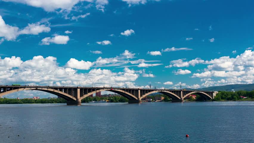 Bridge over the Yenisei river, time lapse | Shutterstock HD Video #8013103