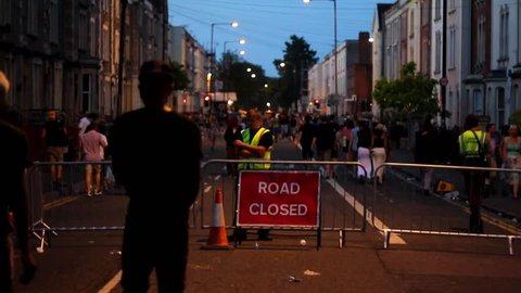 BRISTOL - July 6: Road Closed at St Pauls Carnival - July 6 2013 in Bristol England