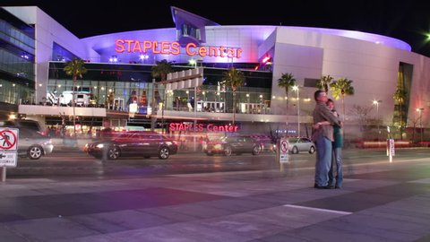 Los Angeles, CA - Circa 2012 - Timelapse clip of Staples Center at night in Los Angeles, CA after a Clippers game.