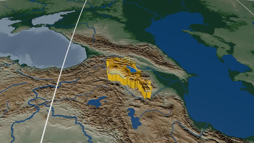 Armenia On The Satellite Map Outlined And Glowed Elements Of This - Satellite height map