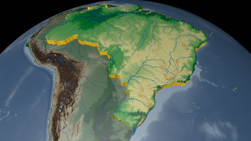 Brazil shape animated on the physical map of the globe stock footage brazil extruded on the world map rivers and lakes shapes added colored elevation and gumiabroncs Images