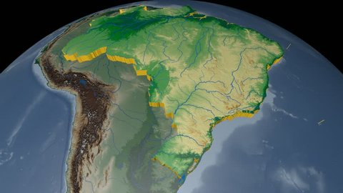 BRAZIL extruded on the world map. Rivers and lakes shapes added. Colored elevation and bathymetry data used. Elements of this image furnished by NASA.