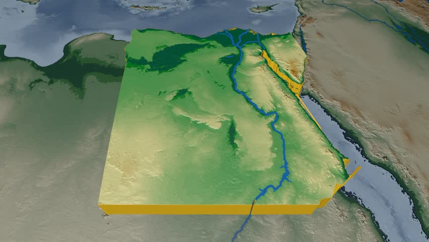Egypt Extruded On The World Map Rivers And Lakes Shapes Added - Map of egypt 3d