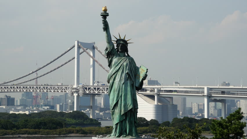 Replica Statue of Liberty with Peace Bridge in the Background  -  Tokyo Japan Circa September 2014 | Shutterstock HD Video #8109883