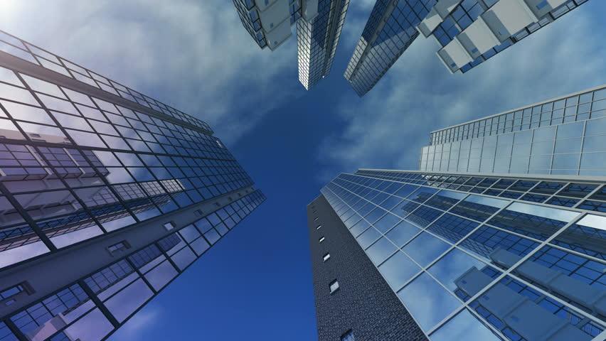 Animation of exteriors of skyscrapers. 4K. 3D rendering #8110513