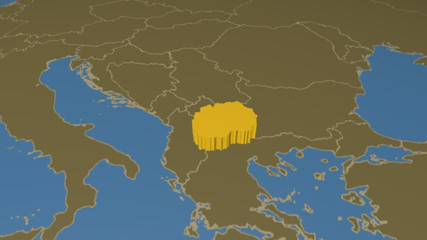 Hd digital animation starts with zoom out from european union map macedonia extruded on the world map with administrative borders solid colors used 4k gumiabroncs Choice Image