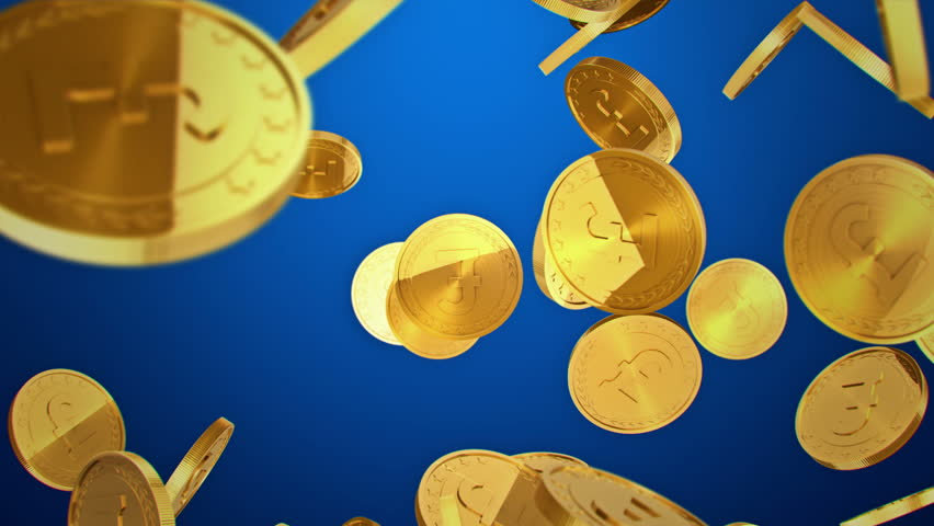 Gold coins falling on blue background. Beautiful Looped animation. 4K.