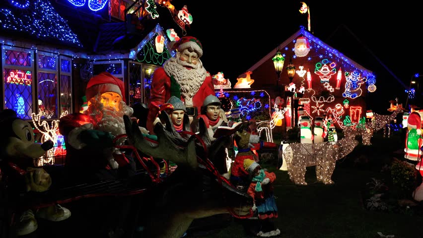 England Christmas Decorations.House Brightly Light With Christmas Stock Footage Video 100 Royalty Free 8220103 Shutterstock