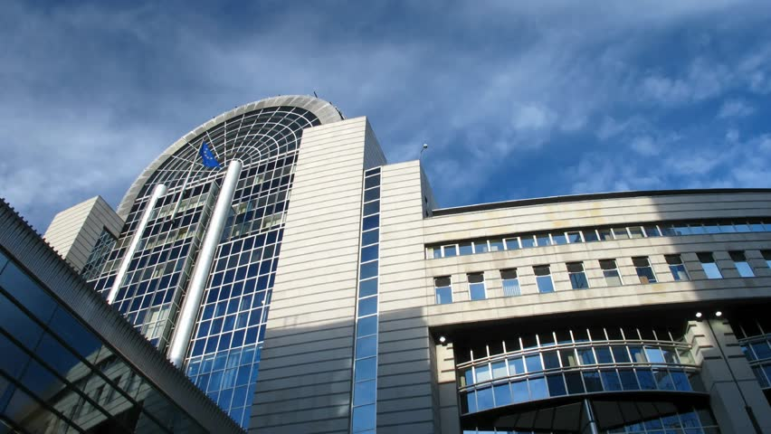 Time lapse clouds over European Parliament, Brussels.