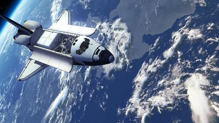Space Shuttle Orbiting Earth. 3D Animation.