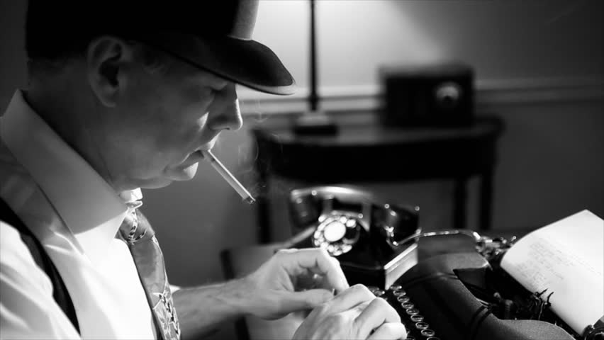 A reporter in a fedora typing on a manual typewriter. Vintage 40's film noir look.