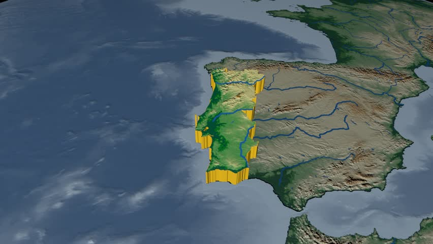 Portugal Extruded On The World Map Rivers And Lakes Shapes Added - Portugal map rivers