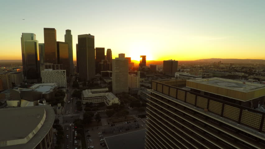 Low flying LA aerial downtown during sunset. | Shutterstock HD Video #8256373