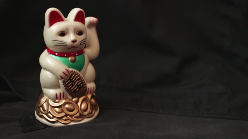 Lucky Asian Waving Cat Stock Footage Video 100 Royalty Free