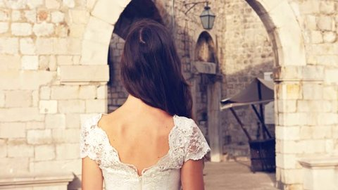 Beautiful Fairy Tale Medieval Princess Bride Dress White Purity Walking Castle Fort Elegance Vintage Beauty Legend Dream Attractive Wedding Model Fashion Glamor Uhd 4K