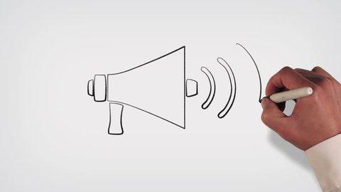 Megaphone Whiteboard Stop-Motion Style Animation