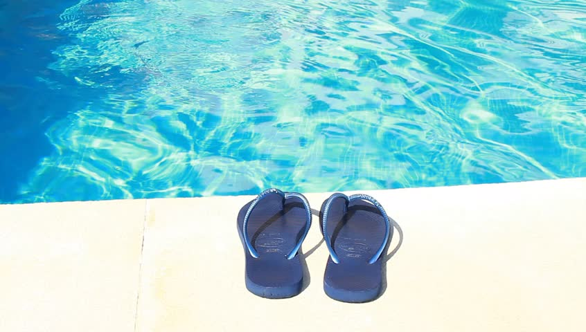 9d5fc32160c Swimming-pool and Blue Flip-flops Stock Footage Video (100% Royalty ...
