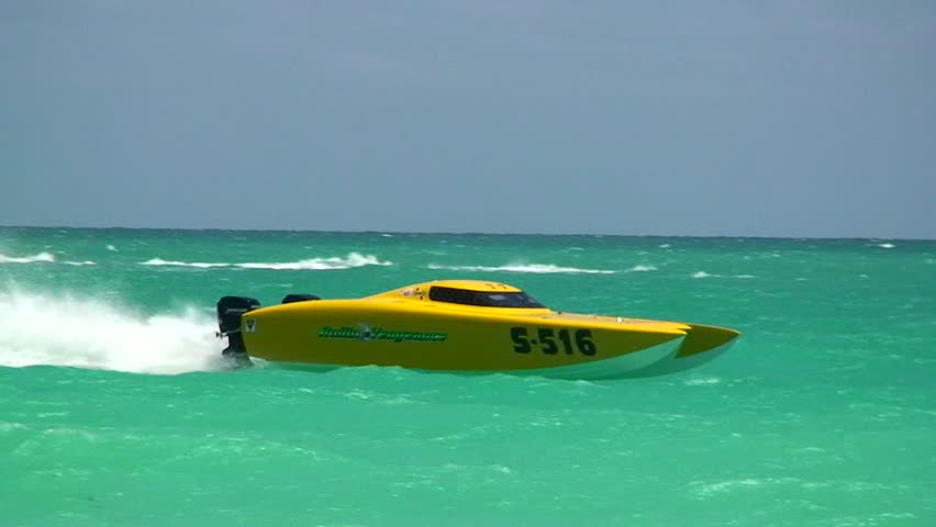 """MIAMI, FLORIDA/USA - APRIL 23, 2007: offshore powerboats racing in front of South Beach in """"Miami 2007 Offshore Racing""""  n.003 - illustrative editorial"""