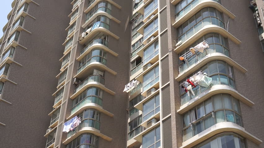 Laundry Hanging To Dry Outside Shanghai Apartment Building Chinese Residents Hang Clothes Their Windows On Racks For Drying