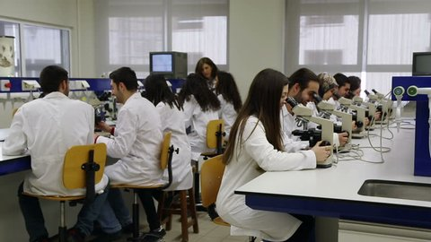 HADETH, LEBANON - 2014: Medicine students inside lab, Lebanese University. The Lebanese University is the only public institution for higher learning in Lebanon with more than 70,000 students
