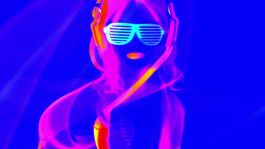 Fantastic video of sexy cyber raver dancer babe filmed in fluorescent clothing under UV black light  | Shutterstock HD Video #8360323