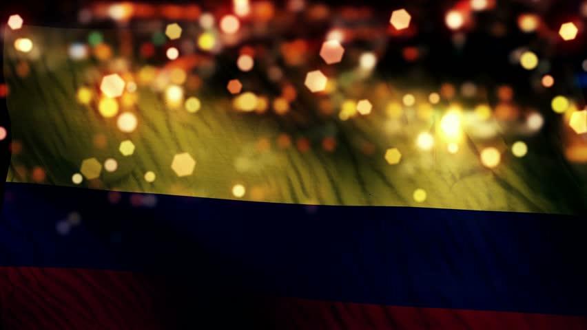 Colombia Flag Light Night Bokeh Abstract Loop Animation - 4K Resolution UHD