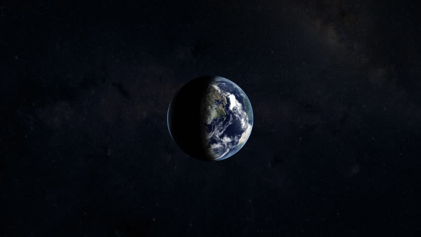 Zooming into earth and to a city. 3D animation.