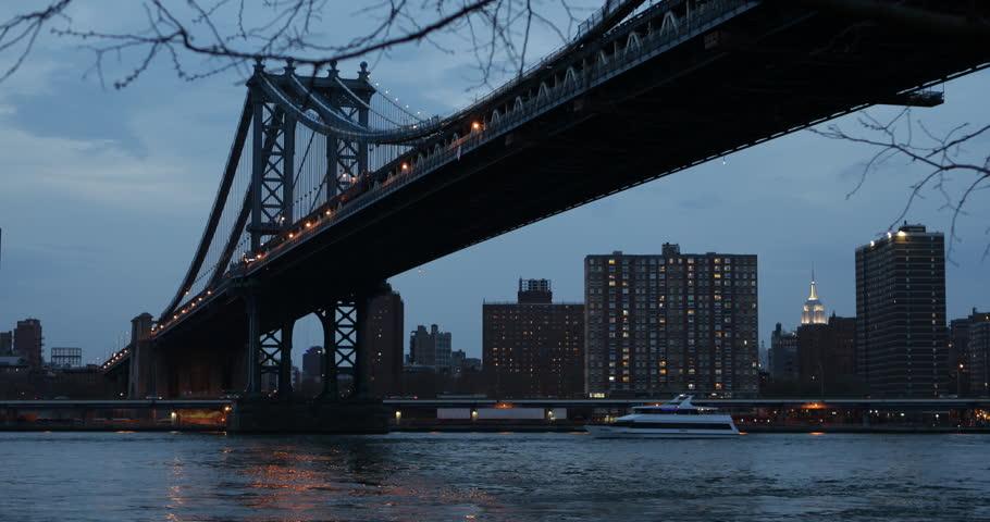 Illuminated Night NYC Manhattan Bridge New York City Empire State Building Dusk Light, Establishing Shot, United States ( Ultra High Definition, UltraHD, Ultra HD, UHD, 4K, 2160P, 4096x2160 )