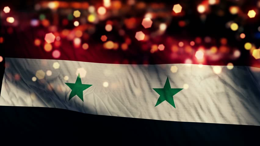 Syria Flag Light Night Bokeh Abstract Loop Animation 4K Resolution UHD Ultra HD
