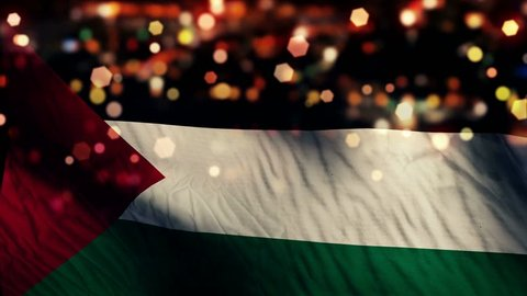 Palestine Flag Light Night Bokeh Abstract Loop Animation 4K Resolution UHD Ultra HD