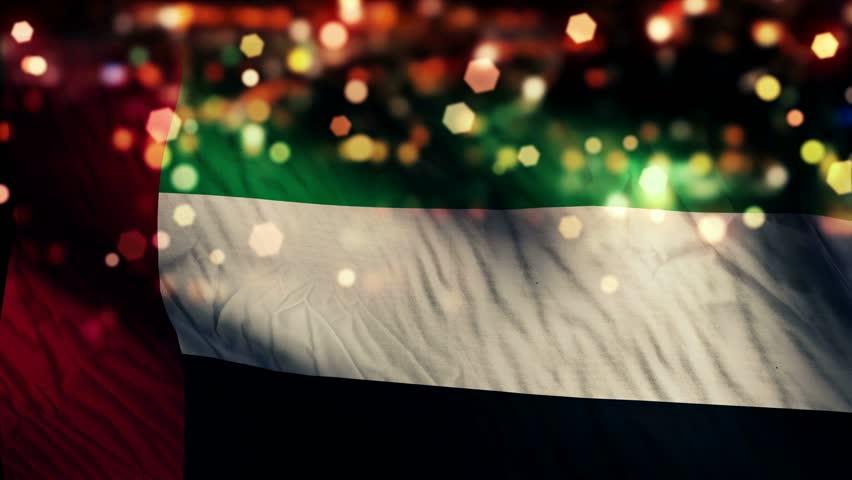 United Arab Emirates Flag Light Night Bokeh Abstract Loop Animation 4K Resolution UHD Ultra HD