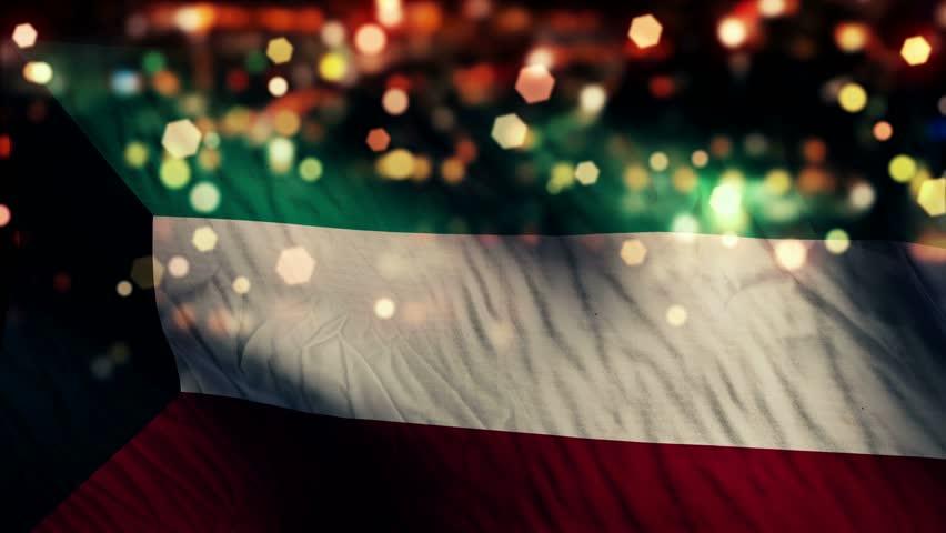 Kuwait Flag Light Night Bokeh Abstract Loop Animation 4K Resolution UHD Ultra HD