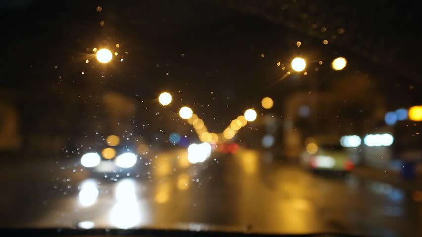 bad weather rain and wet snow on the road night driving road in the headlights of a car. Black Bedroom Furniture Sets. Home Design Ideas